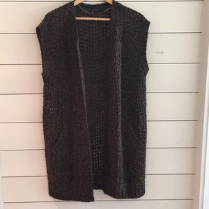 Sanctuary brown/black knitted sweater vest